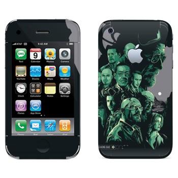 Виниловая наклейка «Все персонажи - Во все тяжкие» на телефон Apple iPhone 3GS