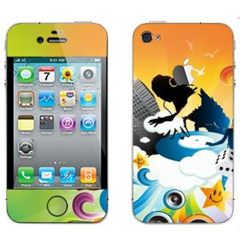 Виниловая наклейка «DJ за работой» на телефон Apple iPhone 4