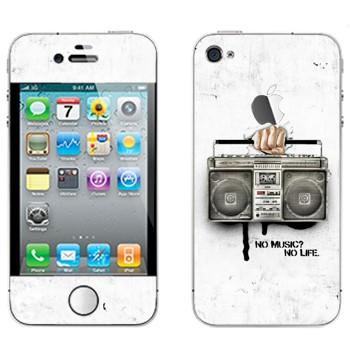 Виниловая наклейка «Бумбокс - No music? No life.» на телефон Apple iPhone 4