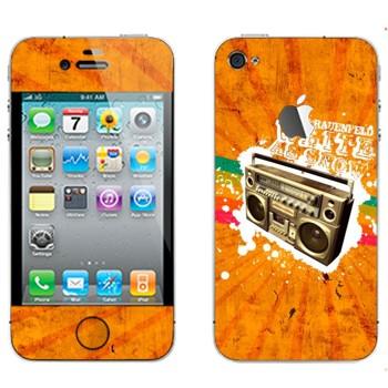 Виниловая наклейка «Бумбокс на оранжевом фоне» на телефон Apple iPhone 4