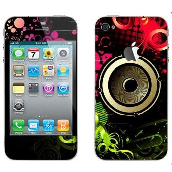 Виниловая наклейка «Динамик в ярких цветах» на телефон Apple iPhone 4