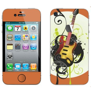 Виниловая наклейка «Электрогитара желтая» на телефон Apple iPhone 4