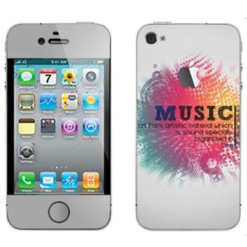 Виниловая наклейка «Надпись Music на разноцветном фоне» на телефон Apple iPhone 4