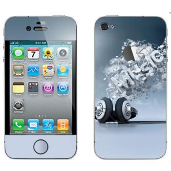 Виниловая наклейка «Наушники и надпись Music» на телефон Apple iPhone 4