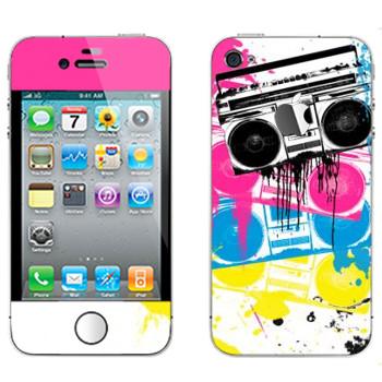 Виниловая наклейка «Разноцветные магнитофоны» на телефон Apple iPhone 4