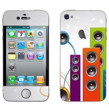 Виниловая наклейка «Вертикальные разноцветные колонки» на телефон Apple iPhone 4