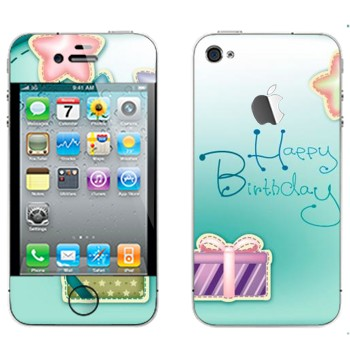 Виниловая наклейка «Happy birthday» на телефон Apple iPhone 4S