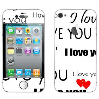 Виниловая наклейка «I Love You - День Святого Валентина» на телефон Apple iPhone 4S