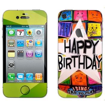 Виниловая наклейка «Большая звезда Happy birthday» на телефон Apple iPhone 4S