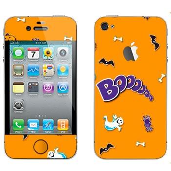 Виниловая наклейка «Бууу - Хэллоуин» на телефон Apple iPhone 4S