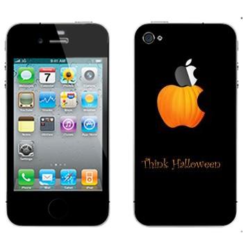 Виниловая наклейка «Лого Apple в виде тыквы - Хэллоуин» на телефон Apple iPhone 4S