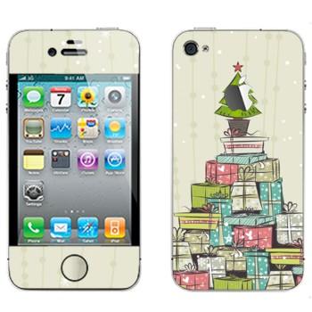Виниловая наклейка «Новогодние подарки» на телефон Apple iPhone 4S