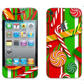 Виниловая наклейка «Новогодние сладости» на телефон Apple iPhone 4S