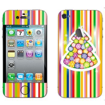 Виниловая наклейка «Новогодняя елка из разноцветных снежинок» на телефон Apple iPhone 4S
