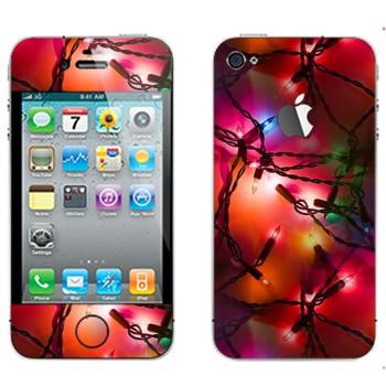 Виниловая наклейка «Новогодняя герлянда» на телефон Apple iPhone 4S