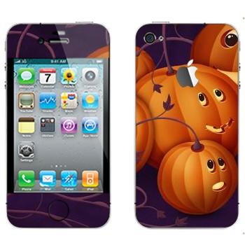 Виниловая наклейка «Няшные тыковки - Хэллоуин» на телефон Apple iPhone 4S