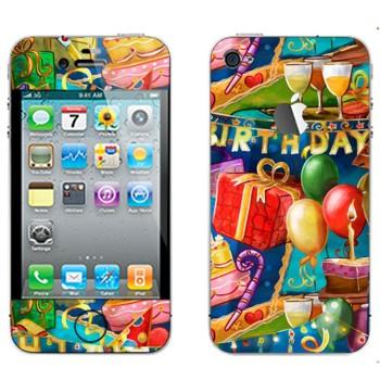Виниловая наклейка «Праздник День рождения» на телефон Apple iPhone 4S