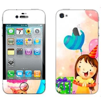 Виниловая наклейка «Принимаем подарки в день рождения» на телефон Apple iPhone 4S