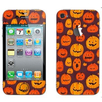 Виниловая наклейка «Разные тыквы к Хэллоуину» на телефон Apple iPhone 4S