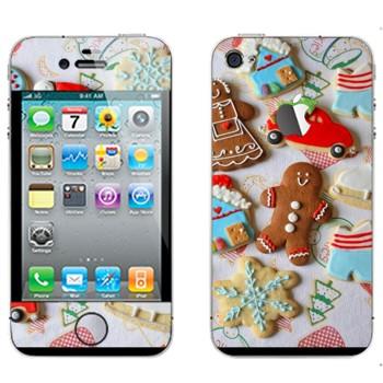 Виниловая наклейка «Рождественские печеньки» на телефон Apple iPhone 4S