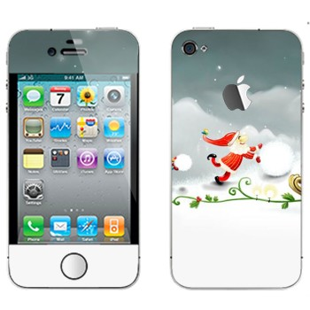 Виниловая наклейка «Санта-Клаус делает снеговика» на телефон Apple iPhone 4S