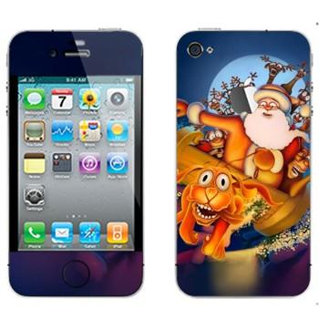 Виниловая наклейка «Санта-Клаус и веселые олени» на телефон Apple iPhone 4S