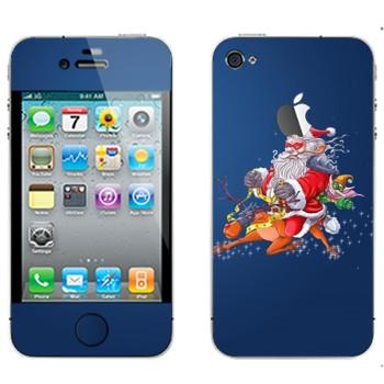 Виниловая наклейка «Санта-супергерой - Новый Год» на телефон Apple iPhone 4S
