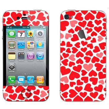 Виниловая наклейка «Сердечки - День Святого Валентина» на телефон Apple iPhone 4S