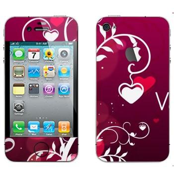 Виниловая наклейка «Сердечки на День Святого Валентина» на телефон Apple iPhone 4S