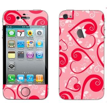 Виниловая наклейка «Сердечки на розовом ко Дню Святого Валентина» на телефон Apple iPhone 4S