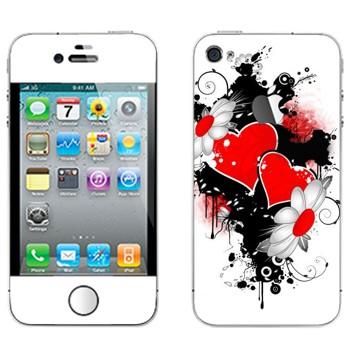 Виниловая наклейка «Сердца и ромашки - День Святого Валентина» на телефон Apple iPhone 4S