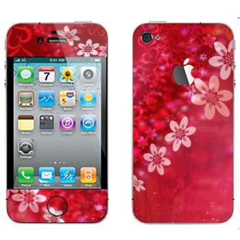 Виниловая наклейка «Сердце из цветов на День Святого Валентина» на телефон Apple iPhone 4S