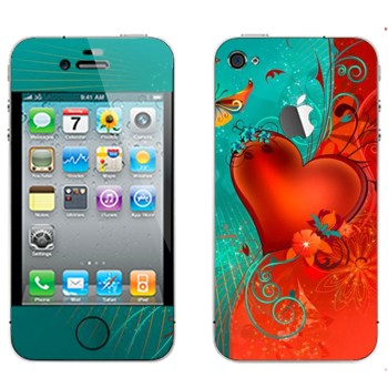 Виниловая наклейка «Сердце сине-красный фон - День Святого Валентина» на телефон Apple iPhone 4S
