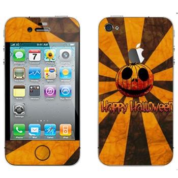 Виниловая наклейка «Тыква Happy Halloween» на телефон Apple iPhone 4S