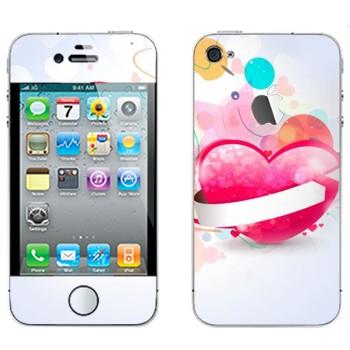 Виниловая наклейка «Валентинки - День святого Валентина» на телефон Apple iPhone 4S