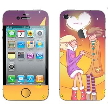 Виниловая наклейка «Влюбленные сидят на Луне - День Святого Валентина» на телефон Apple iPhone 4S