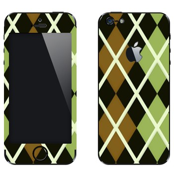 Виниловая наклейка «Черно-коричневые-зеленые ромбы» на телефон Apple iPhone 5