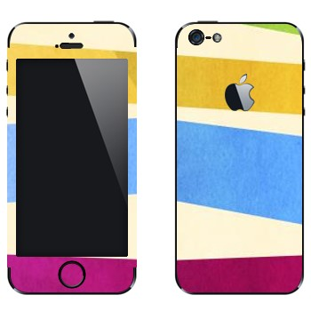 Виниловая наклейка «Желтая, голубая, пурпурная полосы» на телефон Apple iPhone 5