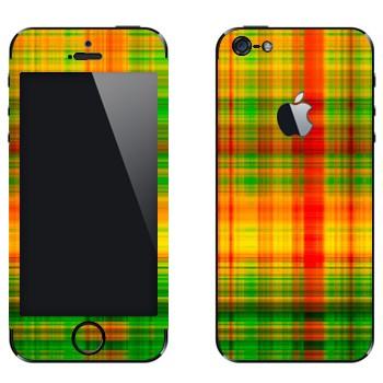Виниловая наклейка «Желто-зеленые и красные клеточки» на телефон Apple iPhone 5