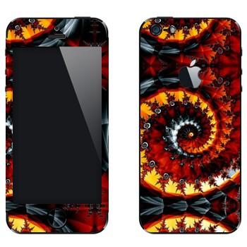 Виниловая наклейка «Калейдоскоп спиральный осенние листья» на телефон Apple iPhone 5
