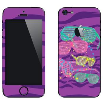 Виниловая наклейка «Клубные разноцветные очки» на телефон Apple iPhone 5