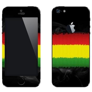 Виниловая наклейка «Красная-желтая-зеленая полоски» на телефон Apple iPhone 5