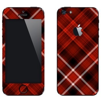 Виниловая наклейка «Красно-белая клетка» на телефон Apple iPhone 5