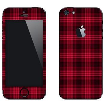Виниловая наклейка «Красно-бордовая клетка» на телефон Apple iPhone 5