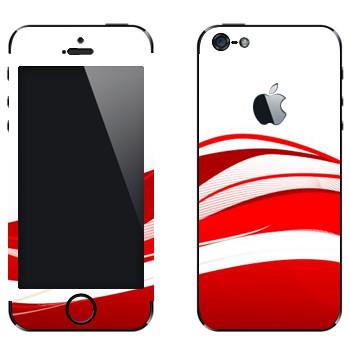 Виниловая наклейка «Красные волны» на телефон Apple iPhone 5