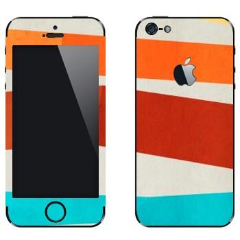 Виниловая наклейка «Оранжевая, коричневая, голубая полосы» на телефон Apple iPhone 5
