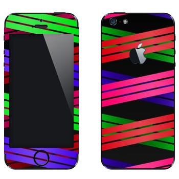 Виниловая наклейка «Плетение из цветных полос 1» на телефон Apple iPhone 5