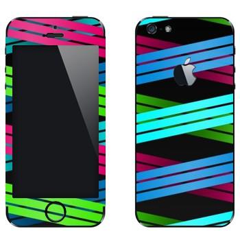 Виниловая наклейка «Плетение из цветных полос 2» на телефон Apple iPhone 5