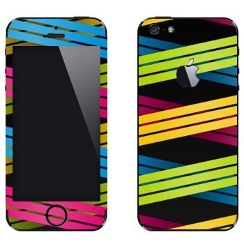 Виниловая наклейка «Плетение из цветных полос 3» на телефон Apple iPhone 5