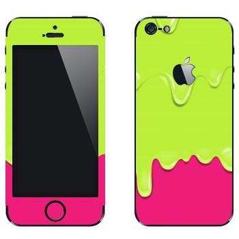 Виниловая наклейка «Потёки зелено-розовые» на телефон Apple iPhone 5